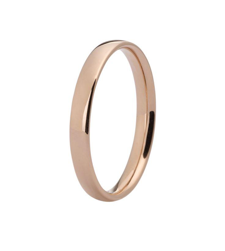 En giftering og forlovelsesring fra Promise by Thune. Dette er en flott gullring i rødt gull. Samme modellen finnes også med diamanter.