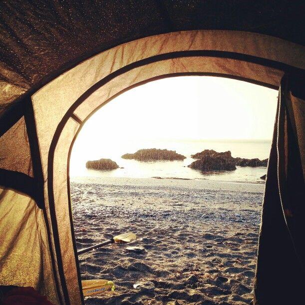 A rainy sunrise on a south coast cornish beach #mywildsummer #wildswimming #camping #cornwall #sunrise