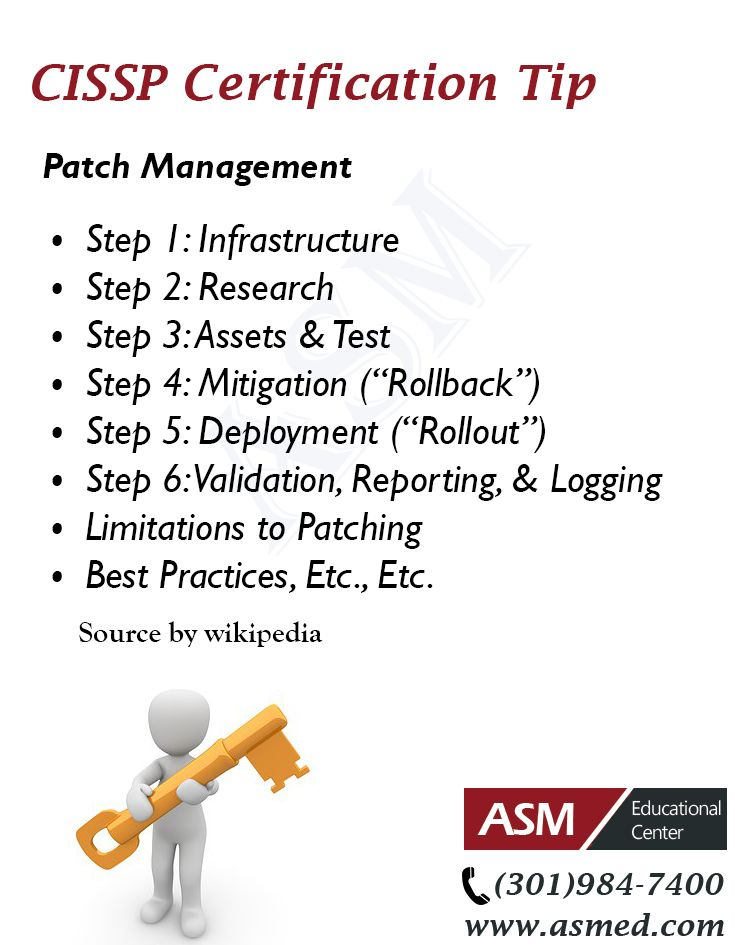 CISSP Certification Traning / Tip - Patch Management .For more information to get certified for microsoft, CompTIA A+, Network+, Security+ and Cisco CCNA, CCNP  Please Repin and go to : http://www.asmed.com/information-technology-it/