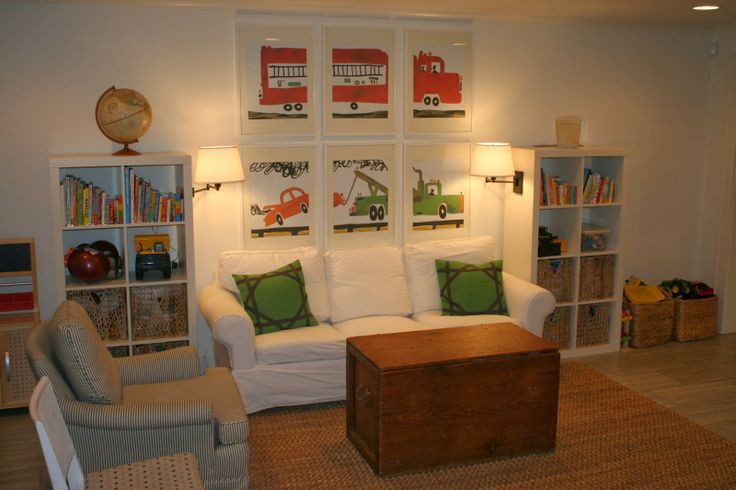 Love the art- blown up illustrations from one of her children's favorite books and hung in Ikea Ribba frames | Blueprint Bliss playroom