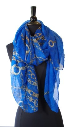 Ivys electric blue print scarf $39.95 | threads and style