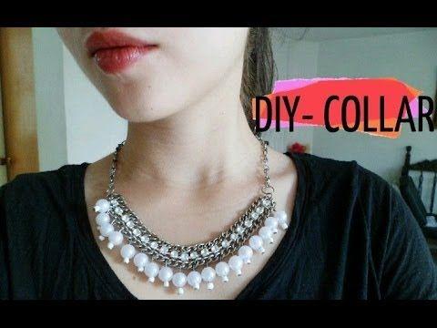 DIY- Collar cadena con perlas y cuentas de cristal /Necklace chain - YouTube