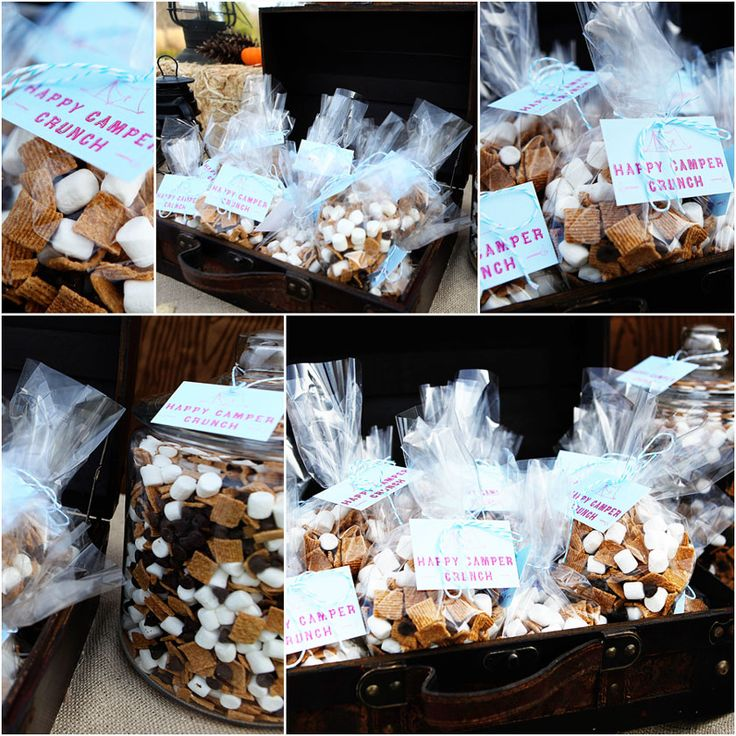 Happy Camper Crunch - Love this idea! : Birthday Parties, Camps Birthday, Golden Graham, Parties Favors, Camping Parties, Parties Ideas, Camps Parties, Party Ideas, Happy Campers