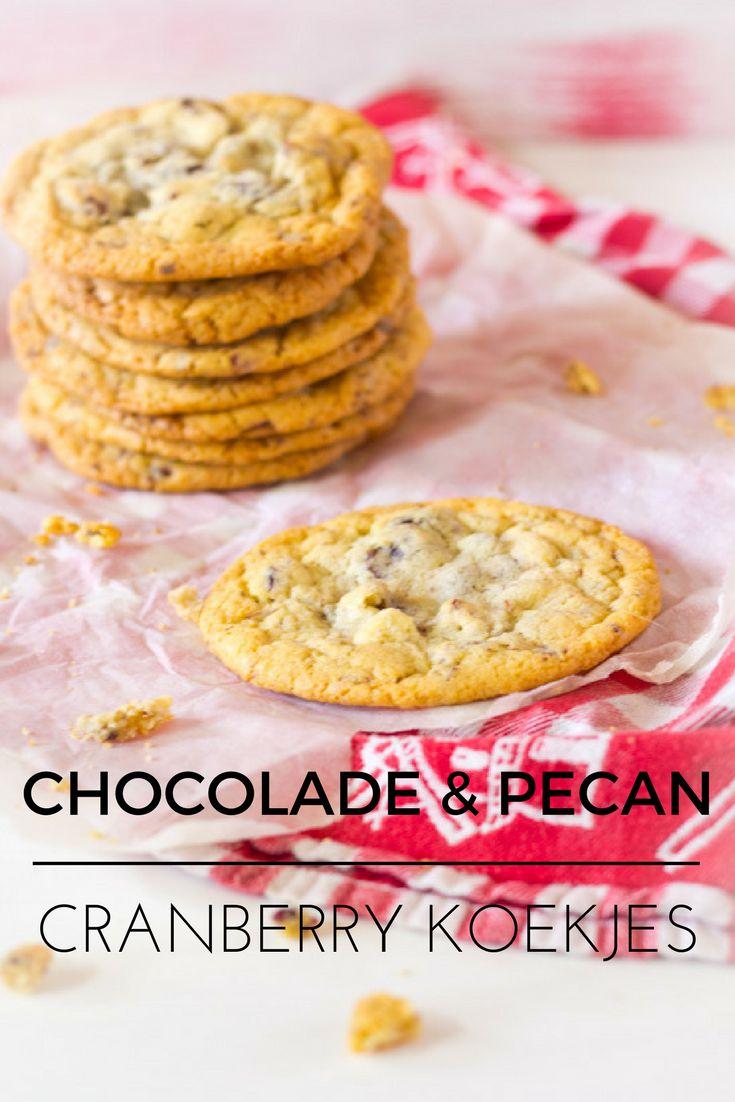Chocolade pecan cranberry koekjes. Recept voor deze echte Amerikaanse cookies. Krokant aan de buitenkant en toffee-achtig in het midden.