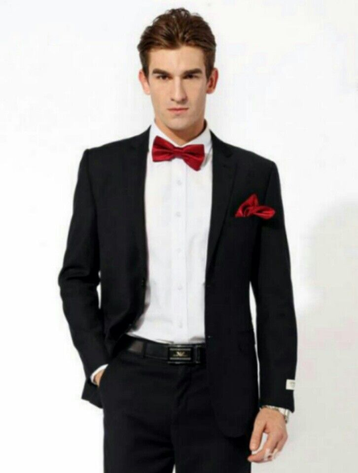 Black tux with red bow tie