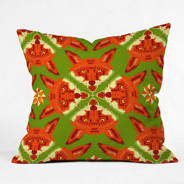 Chobopop Geometric Fox Outdoor Throw Pillow | DENY Designs Home Accessories