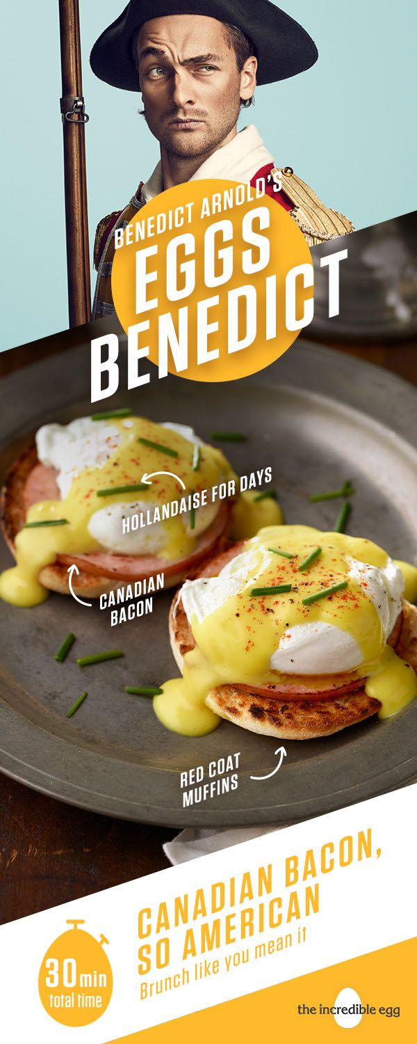 Don't turn your back on Benedict Arnold's Eggs Benedict. It's a picture-worthy brunch in under 30 minutes. The hollandaise sauce will sneak up on you in a fresh, spring way. It's so good, in fact, you'll want to try it on veggies like asparagus, even though asparagus trusted you like a brother. Pro tip: The fresher the egg, the better it holds shape when poached. How do you like your eggs?