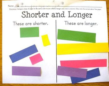 """Here's a comparison activity for length. Students receive 5 different colored strips of construction paper that are 1""""x6"""" long. Students cut each strip into 2 unequal pieces and glue them onto the appropriate column of the chart."""