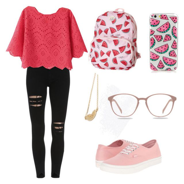 """Watermelon"" by marie-westby on Polyvore featuring Roxy and Vans"