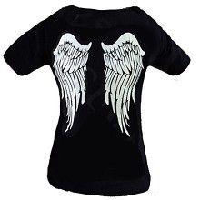 T-shirt zwart met witte engelen vleugels print