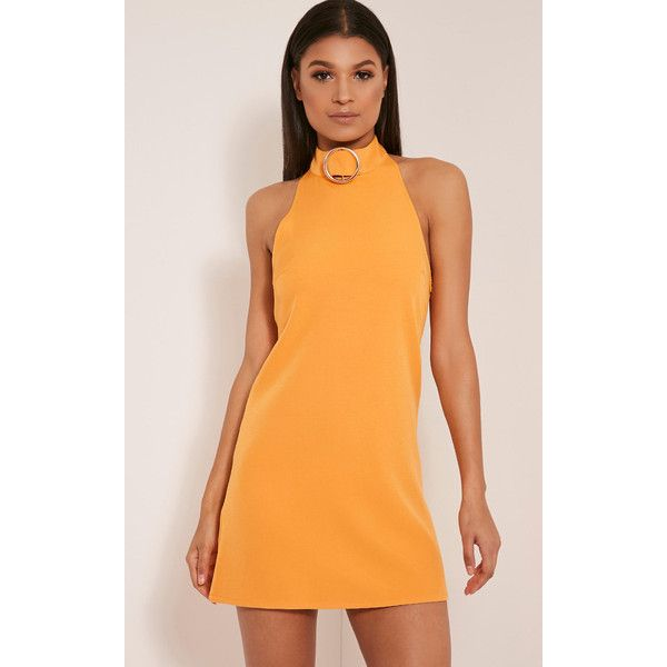 Hamza Bright Orange Ring Detail Backless Shift Dress (2000 RSD) ❤ liked on Polyvore featuring dresses, bright orange, high neck shift dress, orange shift dress, metallic dress, high-neck dresses and bright cocktail dresses