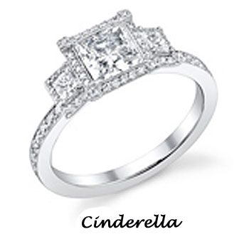 Princess cut and Cinderella style.  My heart would stop if he opens that box with this ring inside. <3