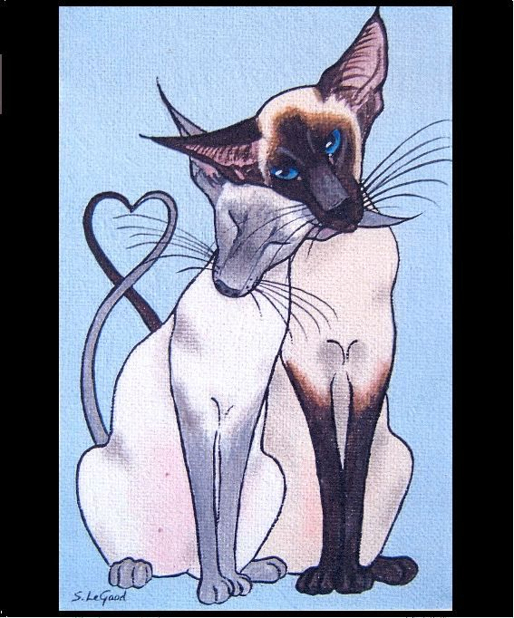 Limited edition siamese cat in love print from original painting suzanne le good