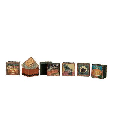 Halloween Box Set by Primitives by Kathy on #zulily today!: Squares Halloween, Vintage Halloween, Halloween Products, Boxes Sets, Halloween Boxes, Primitive