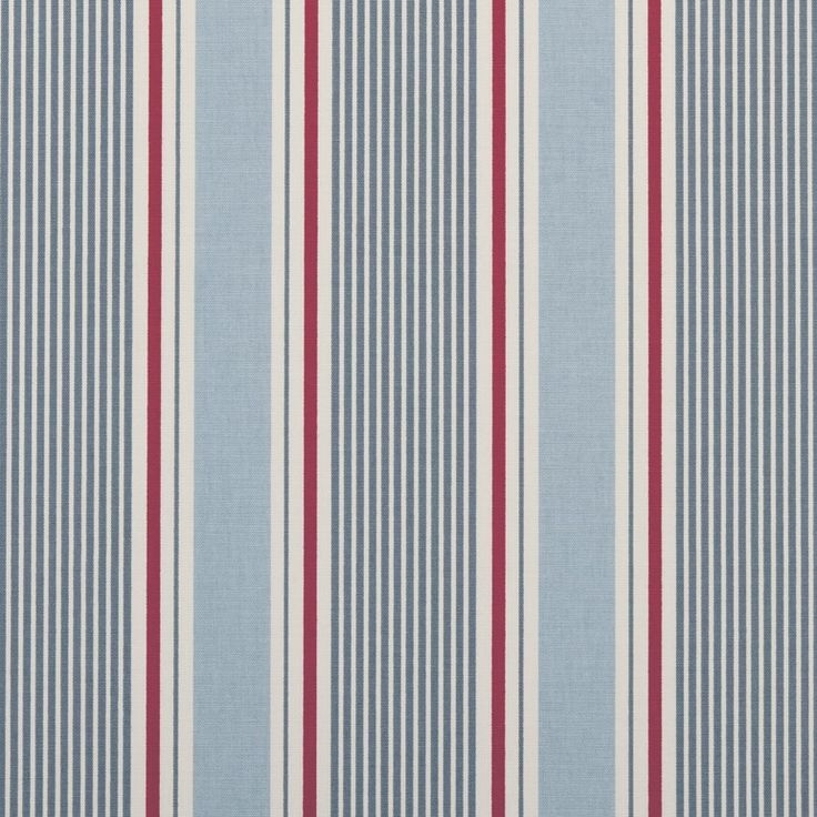 Clarke & Clarke Sail Stripe-Marine F0408-1 Decor Fabric - Patio Lane offers the world renowned collection of decor fabrics by Clarke & Clarke. F0408-1 Marine is perfect for drapery and upholstery applications. Patio Lane offers large volume discounts and to the trade fabric pricing as well as memo samples and design assistance. We also specialize in contract fabrics and can custom manufacture cushions, curtains, and pillows. If you cannot find a fabric you're looking for, you can visit o...