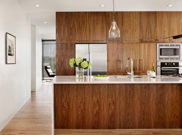 Beautiful Modern Walnut Kitchen Cabinets. Like color scheme.