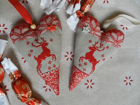 Textil heart set Cross stitch ornaments by Hungarianhouse on Etsy