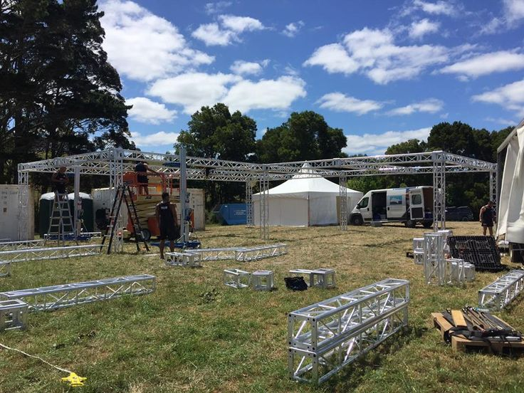 Instant venue with a Schupepe truss structure: the beginnings of what will be the VIP area at Northern Bass festival 2015