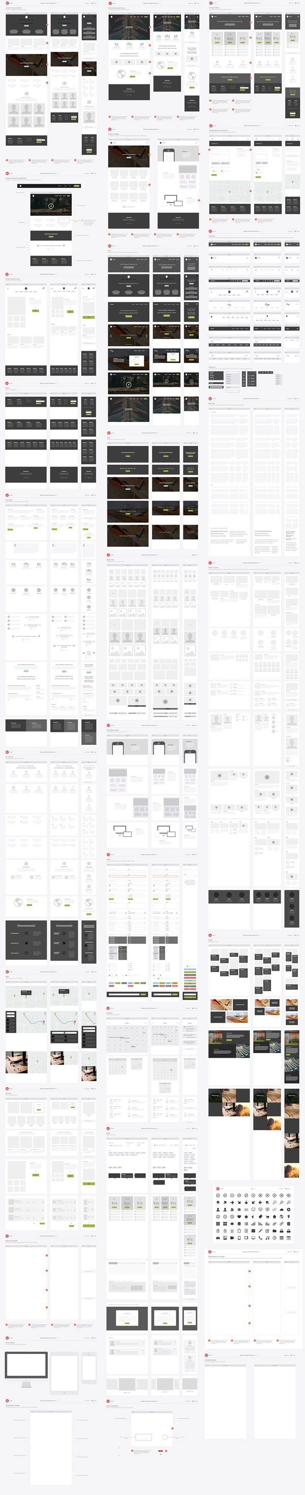 A responsive website wireframe kit developed by the team of UX Kits.
