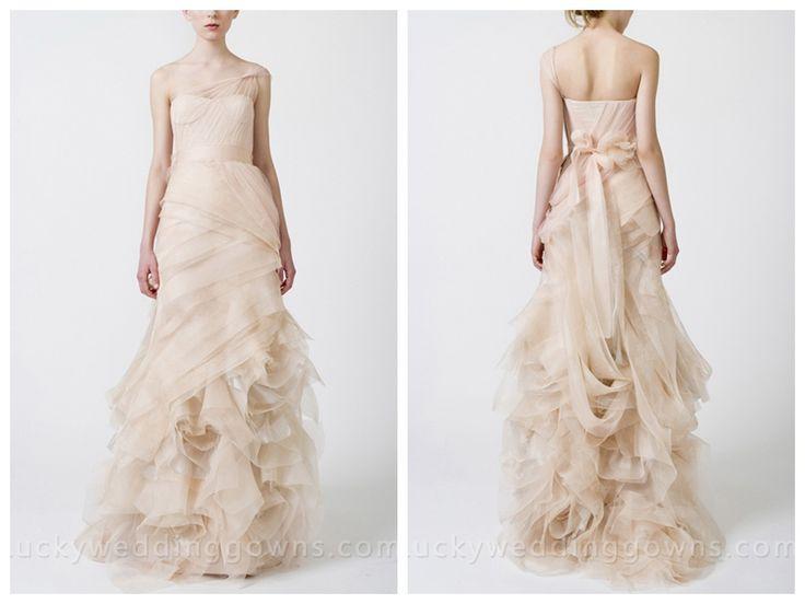 Luxury Elegant Blush One Shoulder Sheath Wedding Dress with Organza Skirt