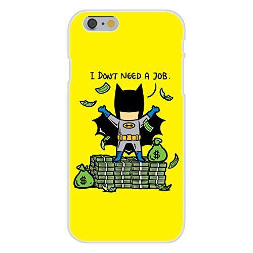 Apple iPhone 6 Custom Case White Plastic Snap On - 'Part-Time JOB No Job' Funny Parody Super Hero Rich Billionaire Cash Stacks