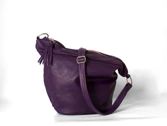 Anza in Purple/ Leather Messenger Bag/ Purple Leather by morelle, $157.00