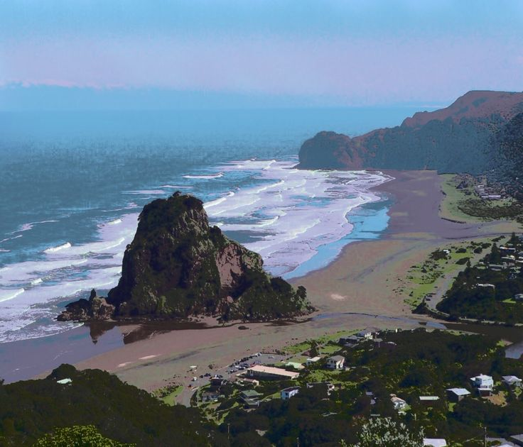 Photo of famous Piha Beach and Lion Rock with a'painted' finish.