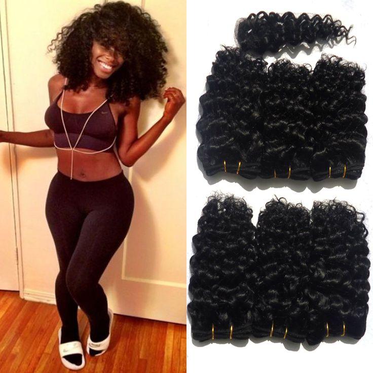Perruque Keriting Keriting Rambut Afro Hitam Pendek Rambut Keriting 6 Bundel rahmat Longgar Rambut Keriting 8 inch dan Satu Sedikit Penutupan total 200g