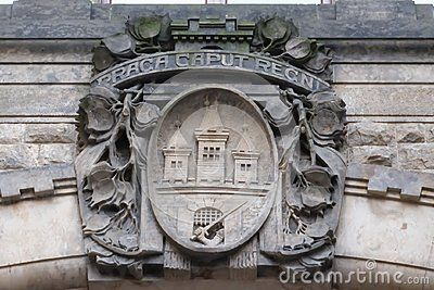 Detail view over a coat of arms on the Powder Tower, Prague, Czech Republic