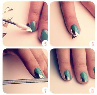 Foto: Nail Art tutorial,, Step by step,, frenche obliqua con carta stagnola :) DA PROVARE!!!!  ✿ LIKE FOR MORE (Y) (Y)  ✖ ✖ ✖ Bєαυту Pαитαвяαѕα ✖ ✖ ✖