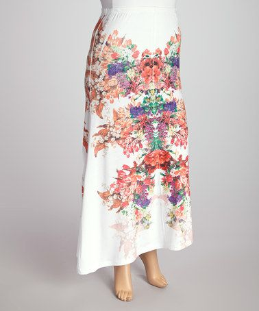 White maxi skirt with floral