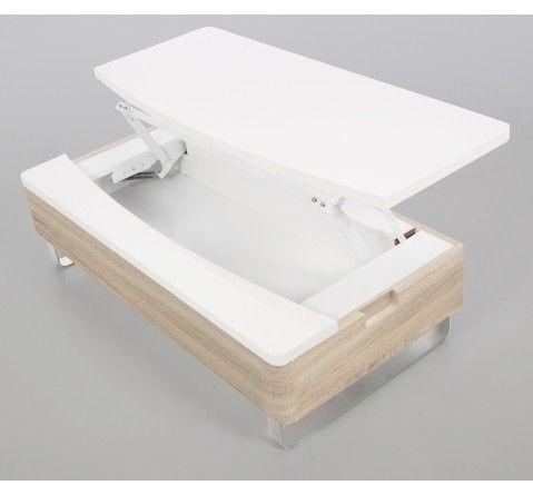 Table basse blanc laqué/bois avec rangement Lyate