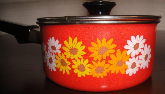 Mid century retro enamel saucepan. by NCLVintage on Etsy, $15.00