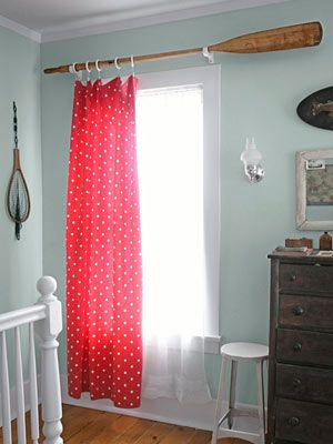 LOVE creative alternatives to curtain rods.  Much more interesting to look at