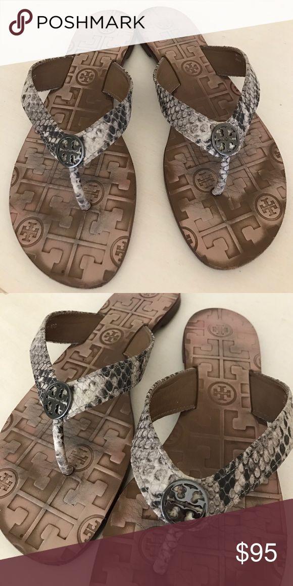 95433b2efb4f Tory Burch Suede Thora 2 Sandals Tory Burch. Size 6. Thora Snake-Print Logo  Thong Sandal