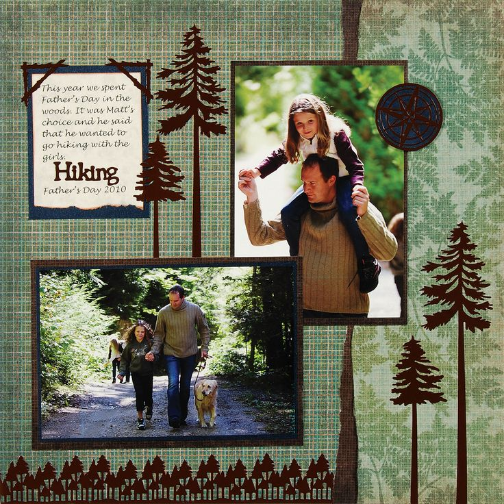 Hiking scrapbook page layout