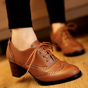 Womens Brogue Lace Up Low Thick Heel Oxfords Retro Boat Shoes US Plus Size 5-11 | eBay