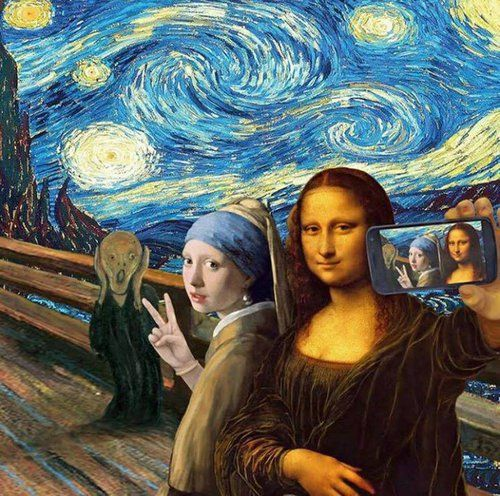 art, selfie, and mona lisa image