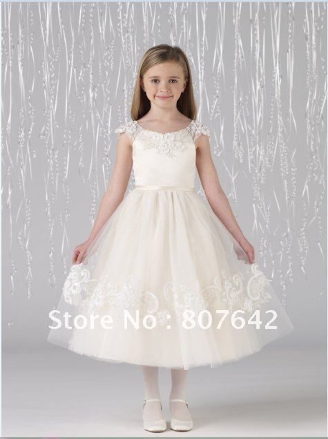 Free shipping scoop cap sleeve  lace  Flower girl dresses girls pageant dresses Custom size/color wholesale Sky 1051-in Flower Girl Dresses from Apparel & Accessories on Aliexpress.com