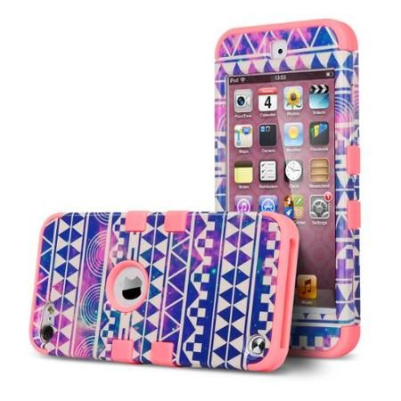 ULAK iPod Touch 6 Case,iPod Touch 5 Case,Hybrid Hard Pattern with Silicon Case Cover for Apple iPod Touch 6 5th Generation (Reverie/Pink)