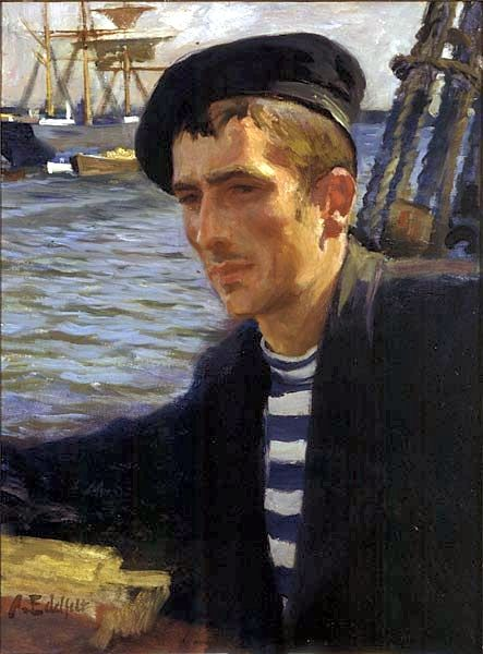 New Zealand Sailor, 1896 - Albert Edelfelt- oil on canvas, 61 × 46.5 cm (24 × 18.3 in). Emil Aaaltosen Museum Pyynikinlinna, Finland
