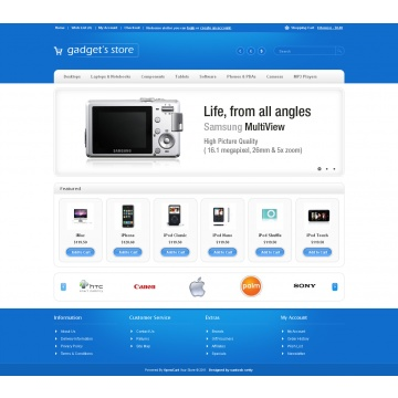 Gadgets Store | Interressant, j'aime bien la couleur massive en haut et en bas ainsi que sa simplicitée | Demo: http://santoshsetty.com/opencart/gadgets-store/ | Prix 15$