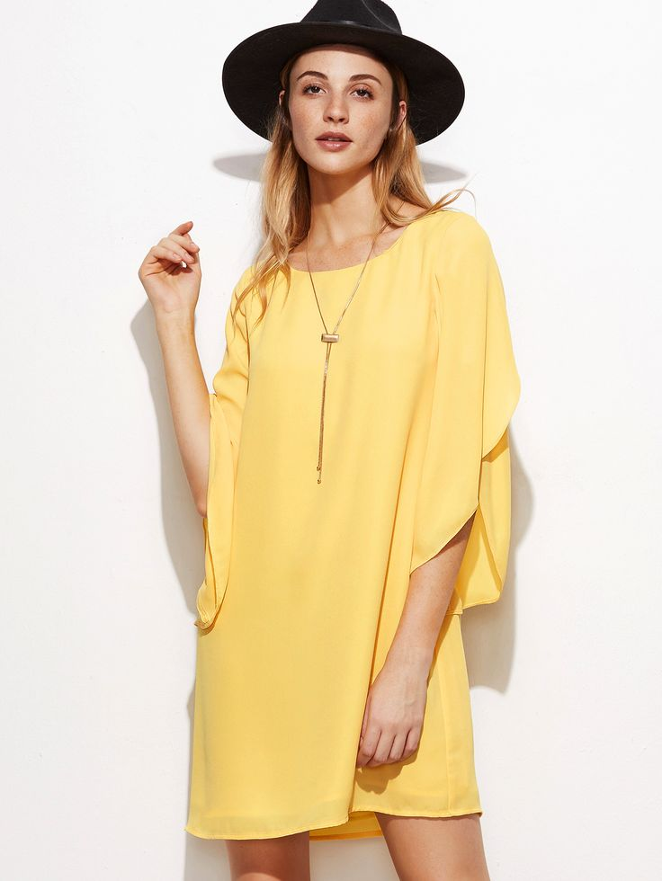 Shop Yellow Tulip Sleeve Shift Dress online. SheIn offers Yellow Tulip Sleeve Shift Dress & more to fit your fashionable needs.