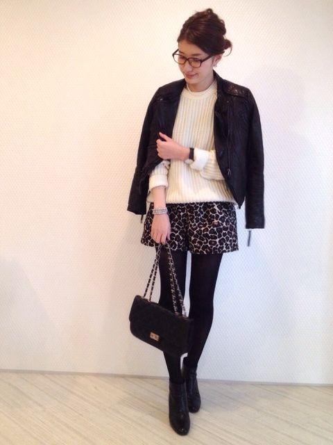 ニット / H&M 去年 メンズ レオパード ショーパン / e hyphen セール レザー / 韓国旅行で ショートブーツ / l'autre chose 去年 バッグ / 海外で  outfit coordinate styling #ootd japanese blogger fashion コーディネート コーデ スタイリング アウトフィト