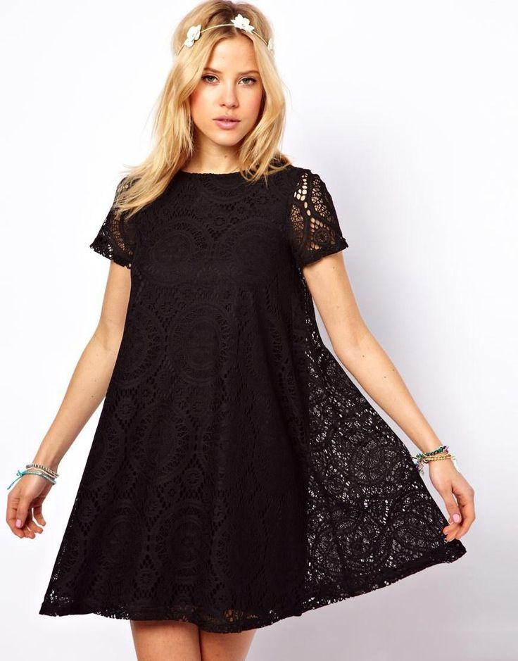 Двойное платье трапеция с кружевным верхом