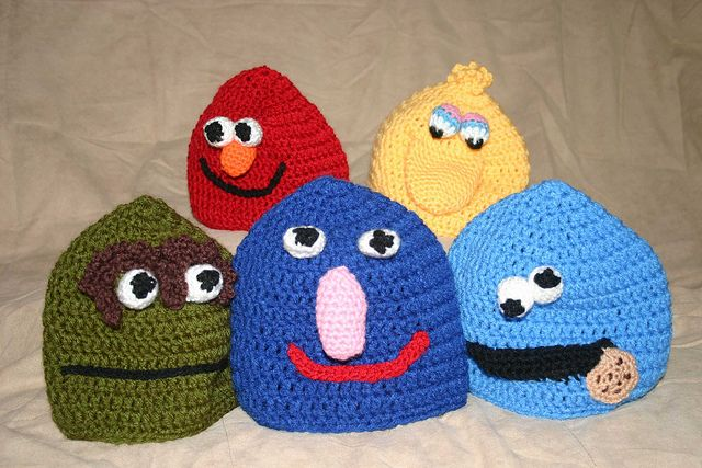 elmo crochet hat pattern free The Sesame Street Hat Gang Flickr - Photo S...