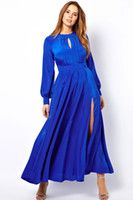 Casual Dresses V_Neck A Line 2014 new Babe Blue Plus Size Frilled Maxi Dress with Bell Sleeves LC6209 sexy women party winter club evening summer dress
