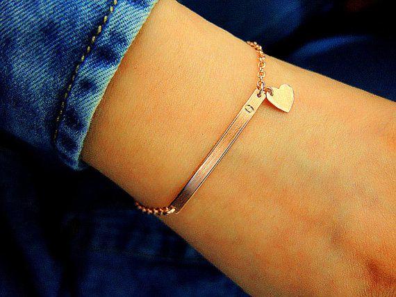 SALE/Rose Gold Personalized Bar Bracelet/Rose Gold by KonKonDesign