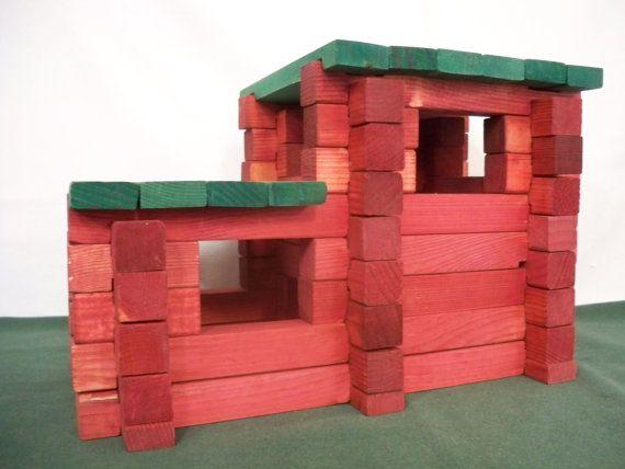 Toy Blocks, Wood Toy Blocks,Square Log Set, Log Building Blocks, Kids Blocks, Learning Blocks, Wood Blocks, Classic Blocks, Toy Log Blocks