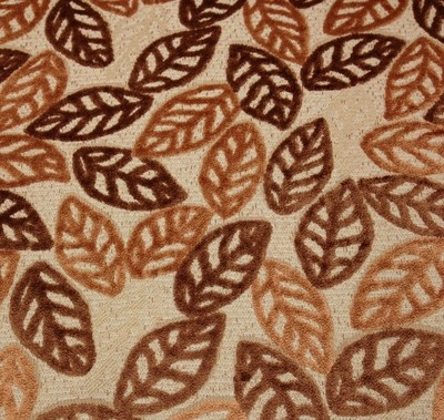 Brown Caramel Leaf Leaves Cut Velvet Upholstery Fabric By The Yard